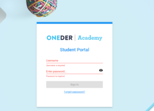 oneder sign in overlay